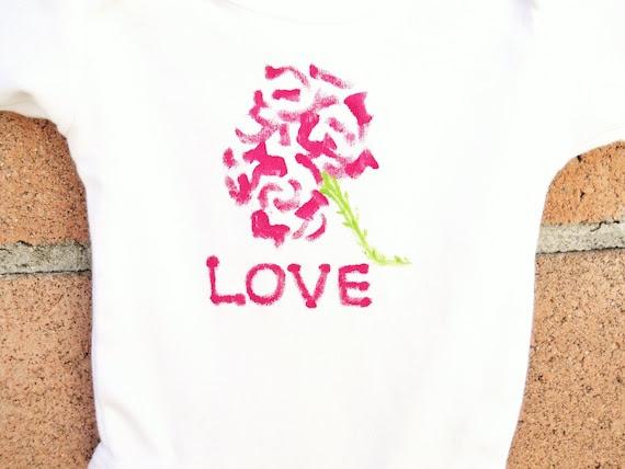 Kids Children Rose Love Flower Toddler T-Shirt or Baby Onesie Hand Painted