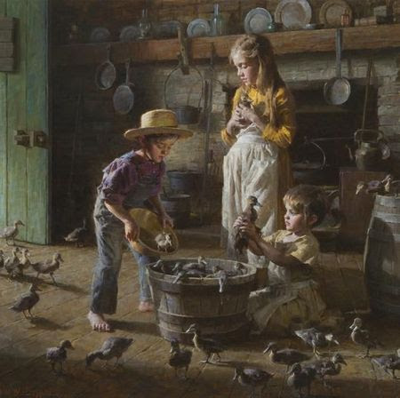 "Morgan Weistling Artist Signed and Numbered Limited Edition Canvas Giclee:""The Ducklings"" - New Arrivals"