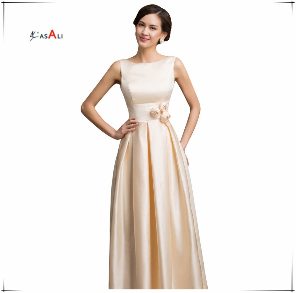 Sexy Satin Apricot Elegant Long Formal Evening