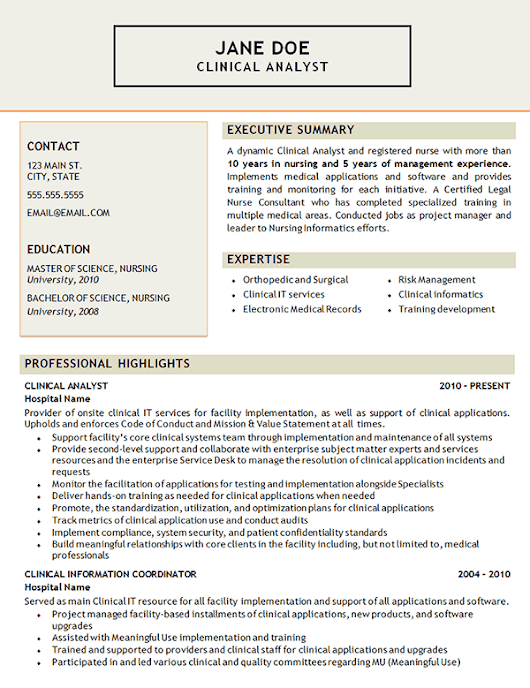 Clinical Analyst Resume Example