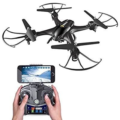 Holy Stone HS200 FPV Drone with 720P HD Live Video Wifi Camera 2.4GHz 4CH 6-Axis Gyro RC Quadcopter with Altitude Hold, Gravity Sensor and Headless Mode Function RTF, Black by Holy Stone