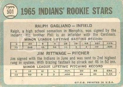 #501 Indians Rookies: Ralph Gagliano and Jim Rittwage (back)