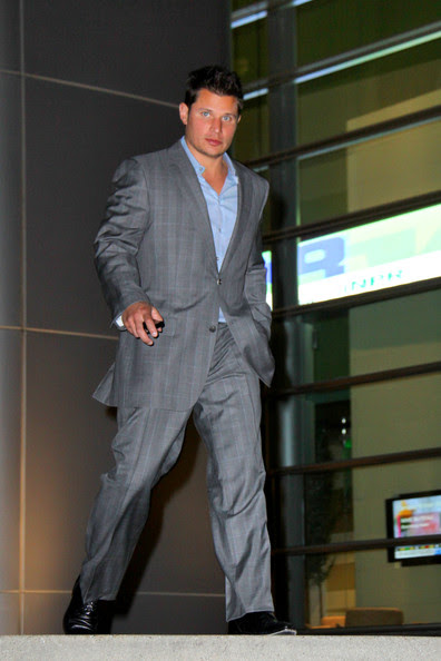Nick Lachey at Craft Los Angeles for a Vanity  Fair pre-Oscars party. Many party goers leaving the event were carrying  FEED USA charity bags and wearing End Hunger 2015 buttons (badges) as  they left the event.