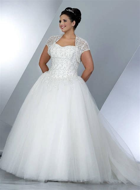 Plus Size Wedding Ball Gowns with Short Sleeve Shrug jacket