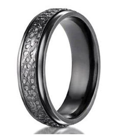 7mm Men's Benchmark Black Titanium Hammered Wedding Ring