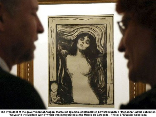 The President of the government of Aragon, Marcelino Iglesias, contemplates Edward Munch´s 'Madonna' by artimageslibrary
