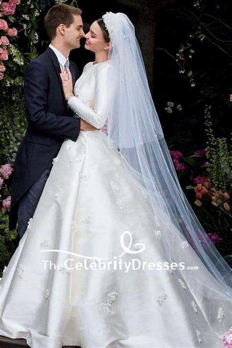 Miranda Kerr Ivory Embroidered Wedding Dress With Long