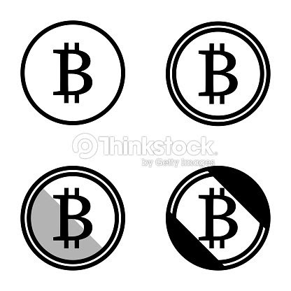 Bitcoin Moneda Virtual Símbolos Iconos Insignia Simple Blanco Y