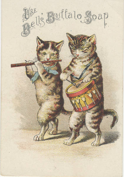 cats playing fife and drum
