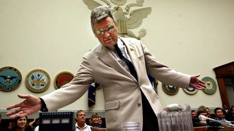 Former U.S. Rep. James Traficant, seen here during a House Ethics Committee hearing in 2002, served seven years in prison on federal bribery and racketeering charges. Traficant died on Saturday. He was 73.