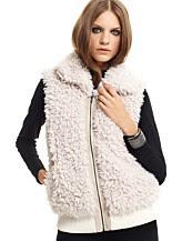 Aqua Faux Fur Zip-Front Vest