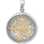 Snowflake Dancing Cubic Zirconia Pendant Two Tone Rhodium on Sterling Silver