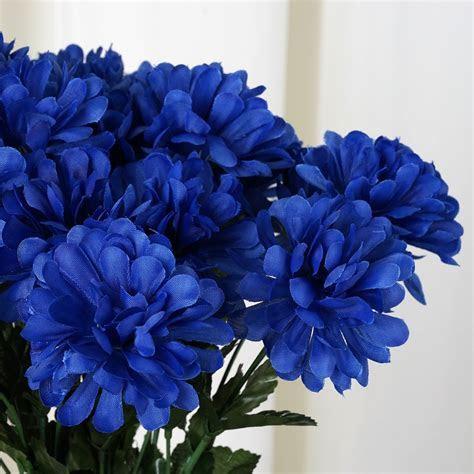 84 Artificial Royal Blue Silk Chrysanthemum Flowers