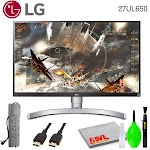 """LG 27UL650-W 27"""" 16:9 4K HDR FreeSync IPS Gaming Monitor Bundled with Surge Protector and Cleaning Kit"""