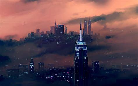 wallpaper  york city empire state building cityscape skyline night  creative graphics
