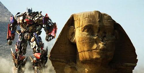 Optimus Prime chills near the Great Sphinx in Egypt.