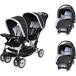 Baby Trend Sit N Stand Baby Double Stroller and 2 Infant Car Seat Combo, Stormy by VM Express