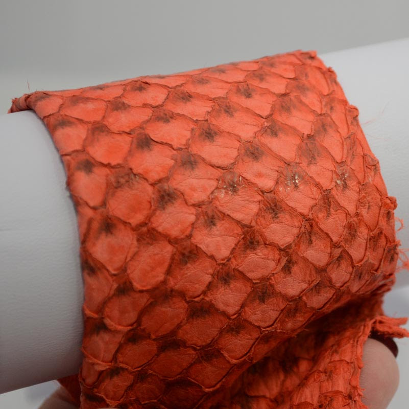 """75135101-11 Second Skin Fish Leather -  Suede - Tangerine (1) - <font color=""""#FF0000"""">Discontinued</font> - 60% off!"""