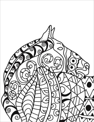 Dibujo De Cabeza De Caballo Zentangle Para Colorear Dibujos Para