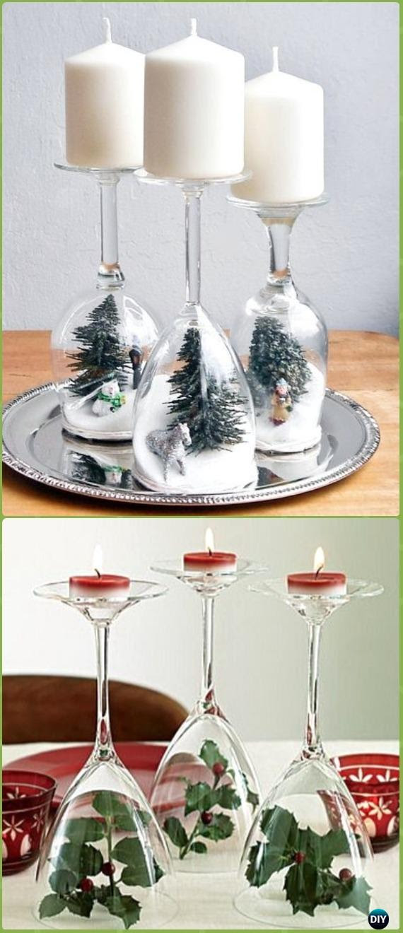 Diy Wine Glass Holiday Dioramas Candle Holders Instruction Holiday