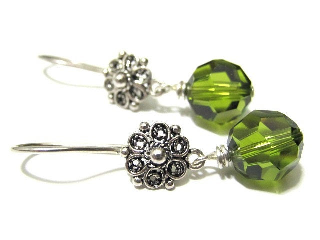 Swarovski Crystal Earrings Sterling Silver Floral Ear Wires - ThePrivateCollection