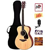 Yamaha FS720S Small Body Folk Acoustic Guitar Bundle with Gig Bag, Tuner, Instructional DVD, Strings, Pick Card...