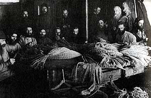 Solovki concentration camp. The fishing net workshop. Archpastors and pastors of the Russian Orthodox Church.