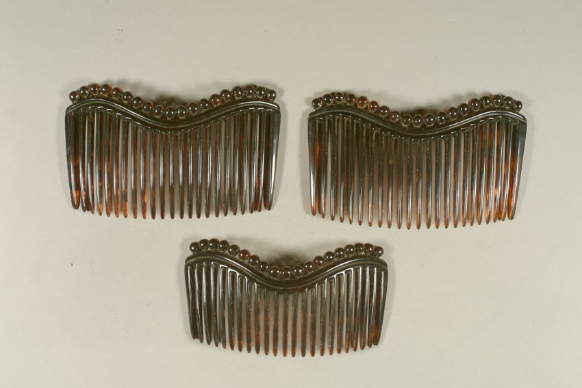 Set of tortoiseshell side combs, c. 1860-1880, Historic New England
