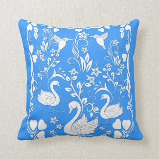 3 swans and hummingbirds white throw cushion