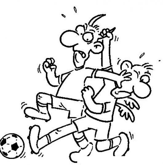 Pelea De Futbol Dibujo De Futbolistas Peleando Por El Balon Para