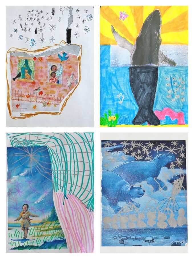 Magazine's als Drawing aanwijzingen voor kinderen - vier afgewerkte kunstwerken