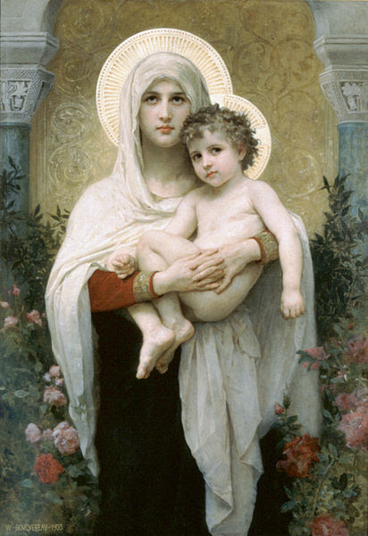 Archivo: William-Adolphe Bouguereau (1825-1905) - La Madonna de las rosas (1903) jpg.