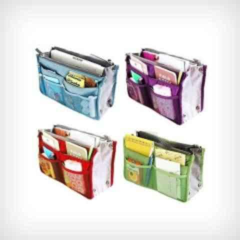 2 Pack Slim Bag-in-Bag Purse Organizers in Assorted Colors