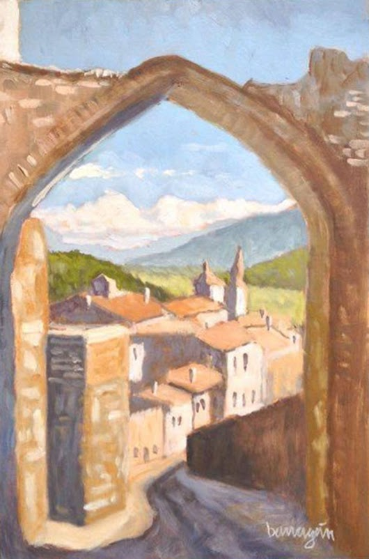 The Arch in Amelia Umbria Italian Plein Air Landscape Oil Painting (2017) Oil painting by Caridad I. Barragan
