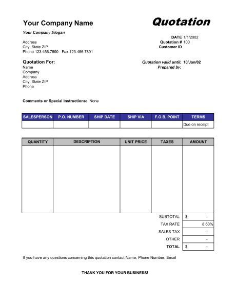 Price Quotation Format   Template & Sample Form   Biztree.com