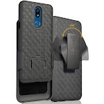 Nakedcellphone [Black Tread] Kickstand Case Cover with [Rotating/Ratchet] Belt Clip Holster Holder Combo for LG Journey LTE L322DL, LG Tribute Royal