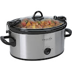 Crock-Pot - 6.0-Quart Cook & Carry Slow Cooker, Manual - Stainless Steel