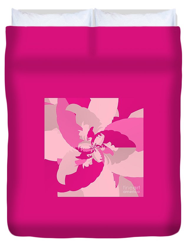 Tropical Pink Duvet Cover featuring the digital art Tropical Pink by Michael Skinner