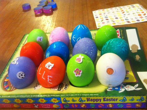 Eggs with stickers