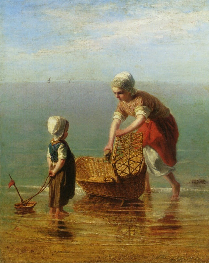 Jozef Israëls (Dutch Realist painter, 1824-1911) Mother and Child by the Sea