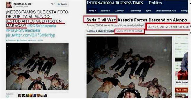 El autor de este tweet, con una foto de Siria, después alardeó de que Reuters publicó su impostura.