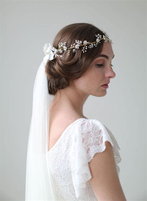 bridal crown veil crystal  blossom full crown lux
