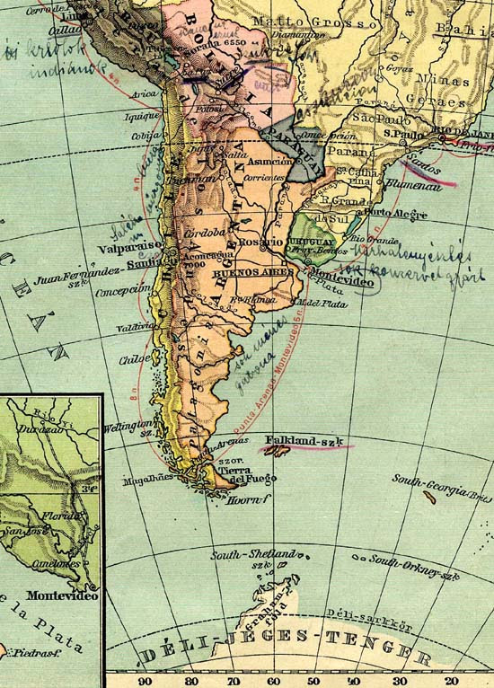 "Map of Argentina from the Hungarian school atlas (1915) of my grandaunt. The inscriptions, probably by her hand, are the following: Near to Lima: ""Creoles, Indians"". In Bolivia: ""rubber, silver. Capital: Szükre"". Near to Chile: ""saltpeter, wheat, potato"". At Argentina, near to Montevideo: ""cattle breeding, they produce much canned food"", and near to Patagonia: ""many studs, grain""."