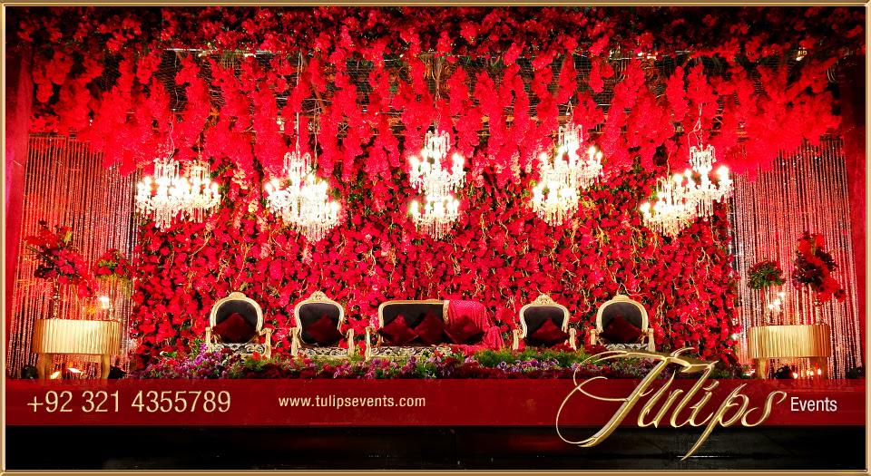 Royal Red Gold Wedding Reception Stage Floral Backdrop Ideas In