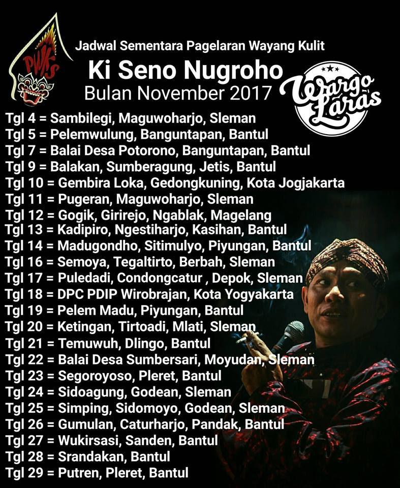 Jadwal Wayang Kulit Ki Seno Nugroho Jogja Yogyakarta Jogjaland Net