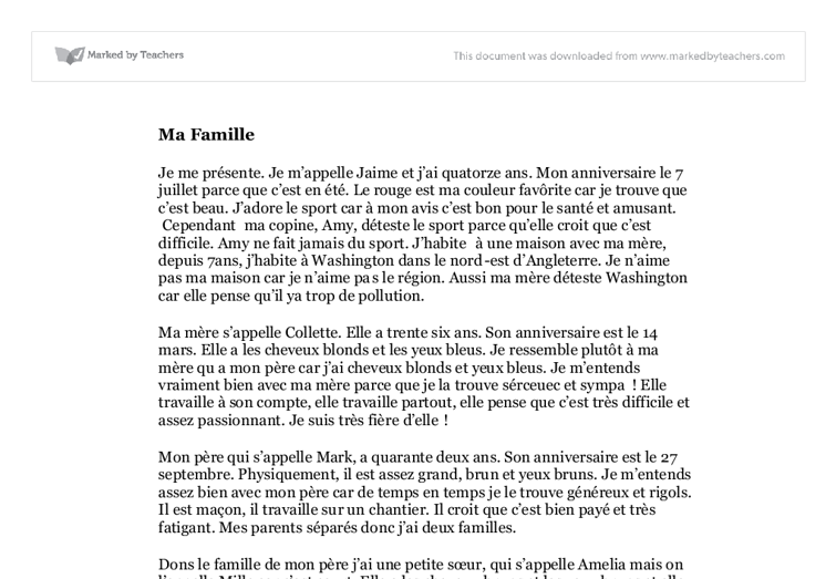 how to write my family essay in french