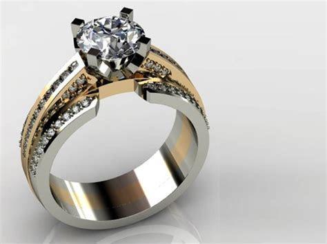 White Gold and Yellow Gold Round Diamond Ring Dallas