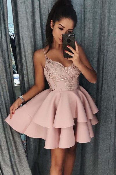 Spaghetti Straps Tiered Pink Satin Homecoming Dress with Sequins TZ0148