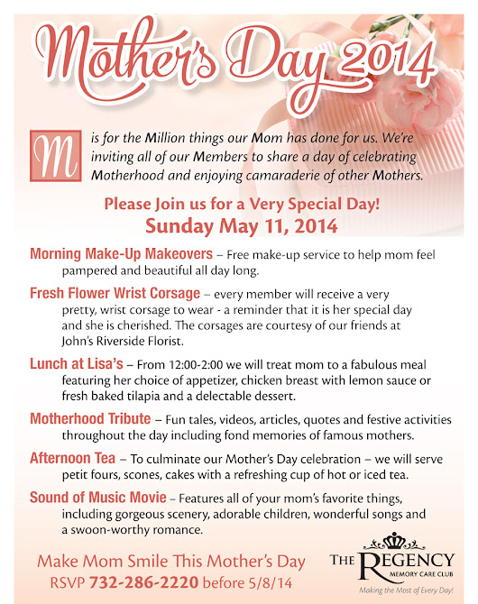 Memory Care Club NJ Mothers Day Event