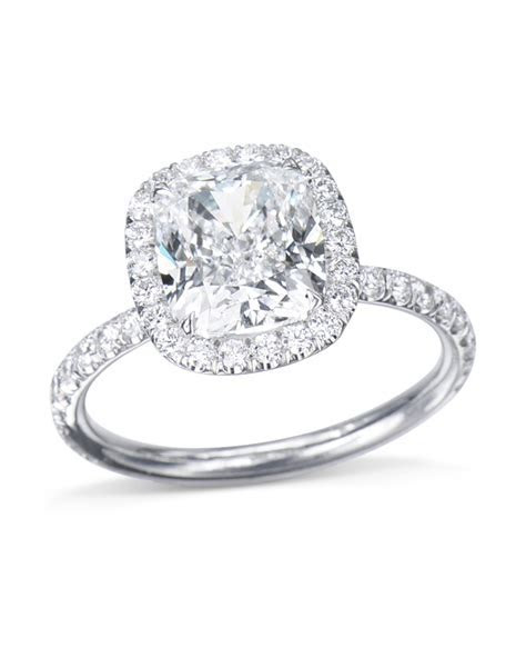 Cushion Cut Diamond Halo Engagement Ring   Turgeon Raine
